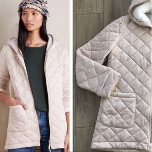 Anthropologie hooded quilted soft jacket